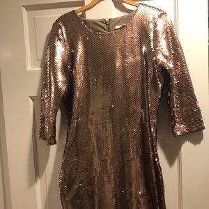 Gold sequence long sleeve dress